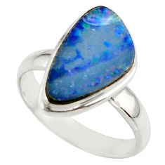 5.26cts blue australian opal (lab) 925 sterling silver ring size 7.5 r42555