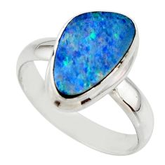 4.76cts blue australian opal (lab) 925 sterling silver ring size 7.5 r42557