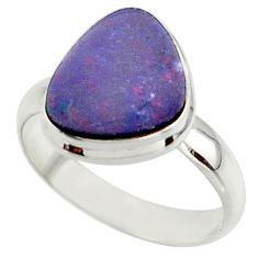 5.02cts blue australian opal (lab) 925 sterling silver ring size 7.5 r42560