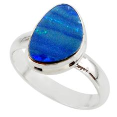4.80cts blue australian opal (lab) 925 sterling silver ring size 7.5 r42562