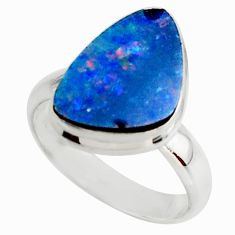 4.90cts blue australian opal (lab) 925 sterling silver ring size 5.5 r42564
