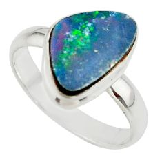4.84cts blue australian opal (lab) 925 sterling silver ring size 8.5 r42565