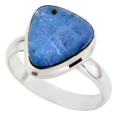 5.30cts blue australian opal (lab) 925 sterling silver ring size 8.5 r42566
