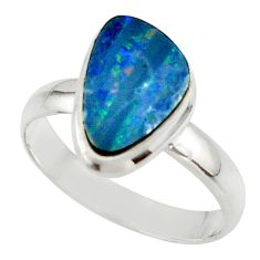4.64cts blue australian opal (lab) 925 sterling silver ring size 8.5 r42573