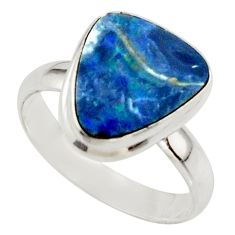 4.86cts blue australian opal (lab) 925 sterling silver ring size 7.5 r42574