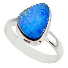 5.30cts blue australian opal (lab) 925 sterling silver ring size 9.5 r42575