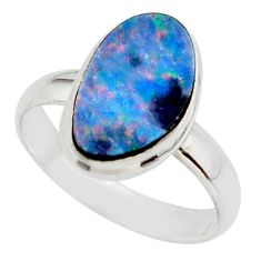 5.16cts blue australian opal (lab) 925 sterling silver ring size 8.5 r42576
