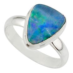 4.84cts blue australian opal (lab) 925 sterling silver ring size 8.5 r42578
