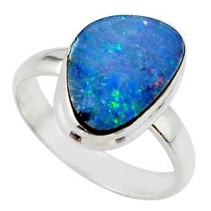4.90cts blue australian opal (lab) 925 sterling silver ring size 7.5 r42579