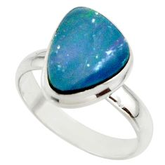5.29cts blue australian opal (lab) 925 sterling silver ring size 7.5 r42583