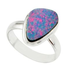 4.64cts blue australian opal (lab) 925 sterling silver ring size 6.5 r42586