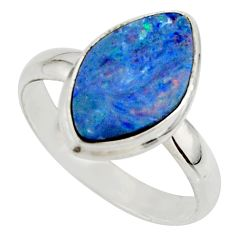 5.23cts blue australian opal (lab) 925 sterling silver ring size 9.5 r42590