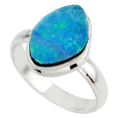 5.28cts blue australian opal (lab) 925 sterling silver ring size 8.5 r42592