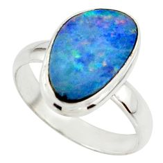 4.90cts blue australian opal (lab) 925 sterling silver ring size 7.5 r42593