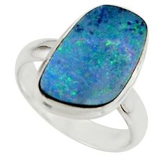 4.89cts blue australian opal (lab) 925 sterling silver ring size 5.5 r42595