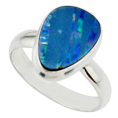 4.84cts blue australian opal (lab) 925 sterling silver ring size 7.5 r42596