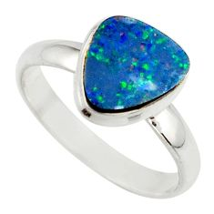 4.58cts blue australian opal (lab) 925 sterling silver ring size 10 r42547