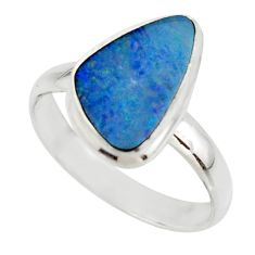 5.54cts blue australian opal (lab) 925 sterling silver ring size 10 r42563