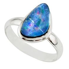 5.30cts blue australian opal (lab) 925 sterling silver ring size 10 r42580