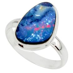 6.10cts blue australian opal (lab) 925 sterling silver ring size 10 r42582