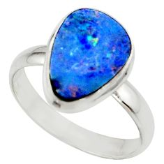 5.58cts blue australian opal (lab) 925 sterling silver ring size 10 r42589