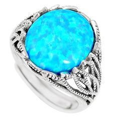 4.21cts blue australian opal (lab) 925 sterling silver ring size 6 c11288