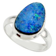 4.89cts blue australian opal (lab) 925 sterling silver ring size 6 r42544