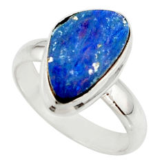 4.76cts blue australian opal (lab) 925 sterling silver ring size 6 r42552