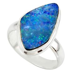 4.85cts blue australian opal (lab) 925 sterling silver ring size 6 r42558