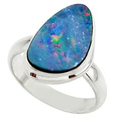 5.06cts blue australian opal (lab) 925 sterling silver ring size 6 r42559