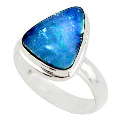 4.76cts blue australian opal (lab) 925 sterling silver ring size 6 r42581