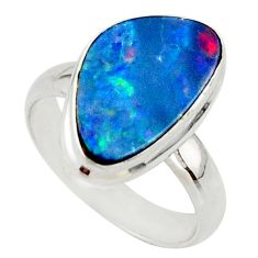 5.29cts blue australian opal (lab) 925 sterling silver ring size 6 r42591