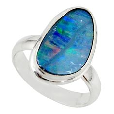 4.76cts blue australian opal (lab) 925 sterling silver ring size 6 r42598