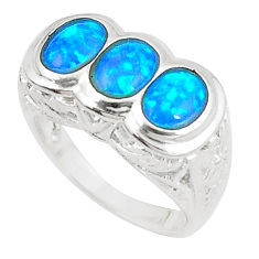 3.02cts blue australian opal (lab) 925 sterling silver ring size 7 a89259 c24437