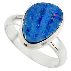 4.86cts blue australian opal (lab) 925 sterling silver ring size 7 r42543