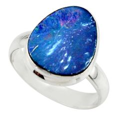 5.29cts blue australian opal (lab) 925 sterling silver ring size 7 r42550