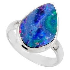 6.44cts blue australian opal (lab) 925 sterling silver ring size 7 r42554
