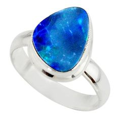 4.63cts blue australian opal (lab) 925 sterling silver ring size 7 r42567