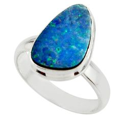 5.26cts blue australian opal (lab) 925 sterling silver ring size 7 r42571