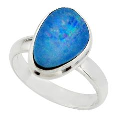 5.15cts blue australian opal (lab) 925 sterling silver ring size 7 r42572