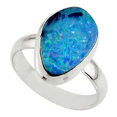 5.26cts blue australian opal (lab) 925 sterling silver ring size 7 r42577