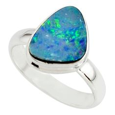 4.58cts blue australian opal (lab) 925 sterling silver ring size 7 r42585
