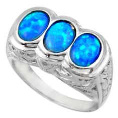 4.82cts blue australian opal (lab) 925 sterling silver ring size 8 c26257