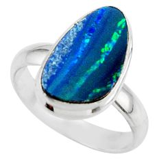 4.89cts blue australian opal (lab) 925 sterling silver ring size 8 r42553