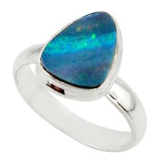 4.76cts blue australian opal (lab) 925 sterling silver ring size 8 r42556