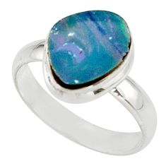 4.63cts blue australian opal (lab) 925 sterling silver ring size 8 r42570
