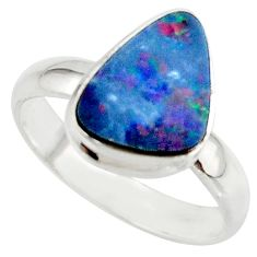 4.85cts blue australian opal (lab) 925 sterling silver ring size 8 r42588