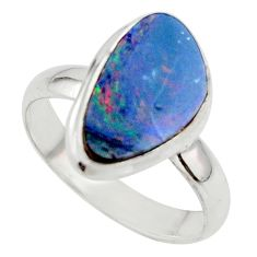 4.89cts blue australian opal (lab) 925 sterling silver ring size 8 r42594