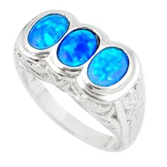 3.24cts blue australian opal (lab) 925 sterling silver ring size 9 a89258 c24435