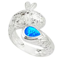 1.15cts blue australian opal (lab) 925 sterling silver ring size 9 a89262 c24414